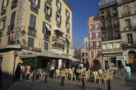 outdoor cafe in city centre toulon