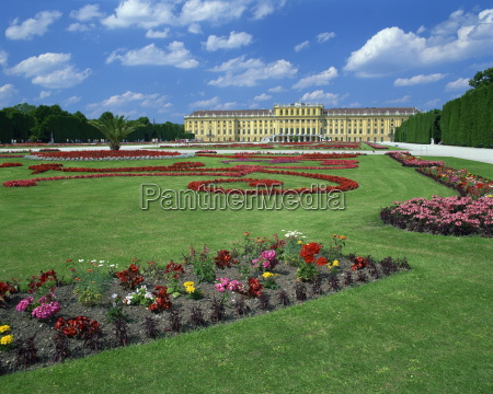 formal gardens with flower beds in