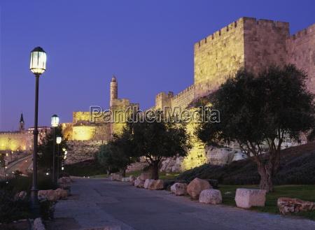 walls promenade and tower of david