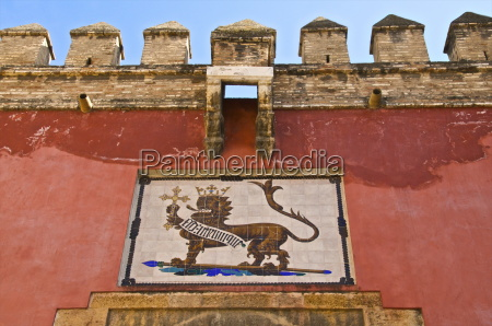 royal lion emblem fresco and fortifications