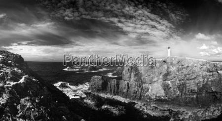 infrared image of lighthouse and coastal
