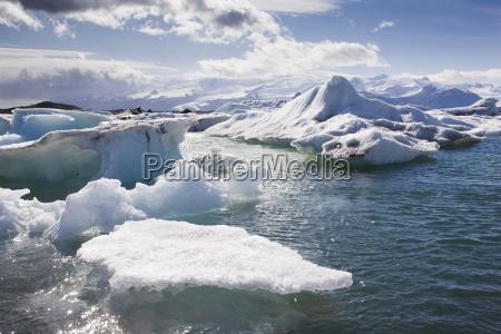 icebergs in glacial lagoon at jokulsarlon