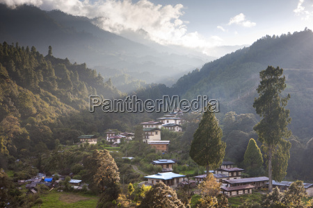 village of chendebji set among forested