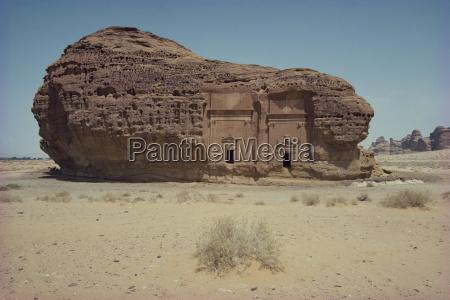 rock tombs in sandstone inselberg madain