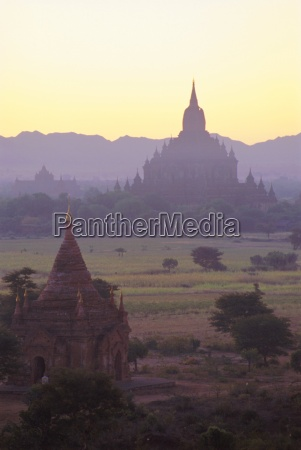 ancient temples and pagodas at dusk