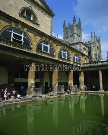 visitors in the roman baths with