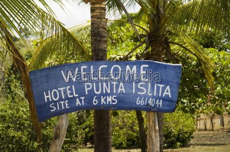 welcome sign at punta islita airstrip