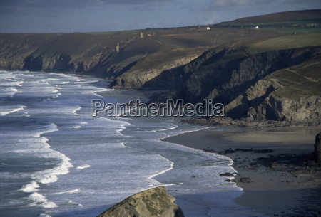 surf and tin mine chimneys in
