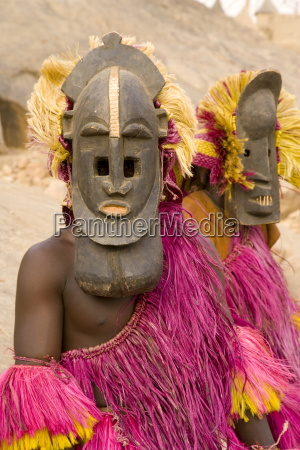 portrait of masked ceremonial dogon dancers