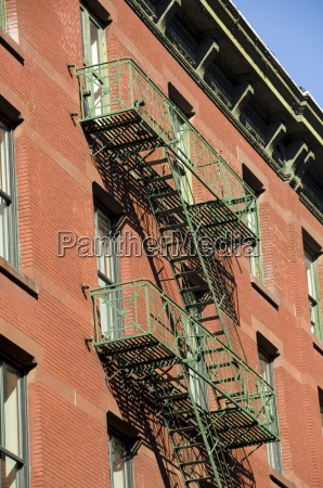 fire escapes on the outside of