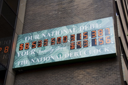 sign showing the national debt of