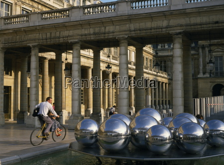 sphere sculpture in courtyard of the