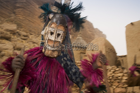masked ceremonial dogon dancer near sangha
