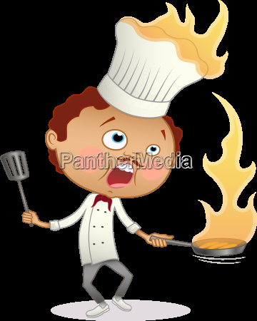 cartoon chef cooking a flambe with