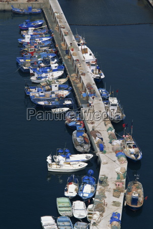 aerial view of commercial fishing boats