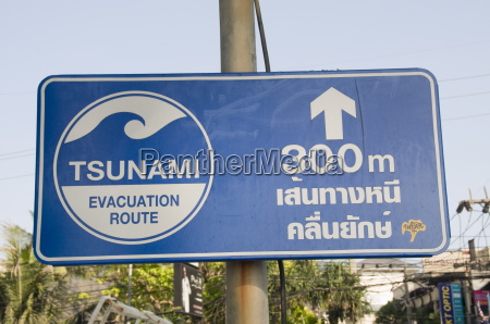 tsunami sign giving escape information phuket