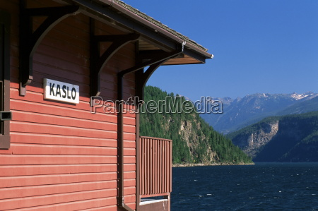 wooden cabin on the shore of