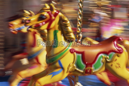 motion blur of brightly painted merry