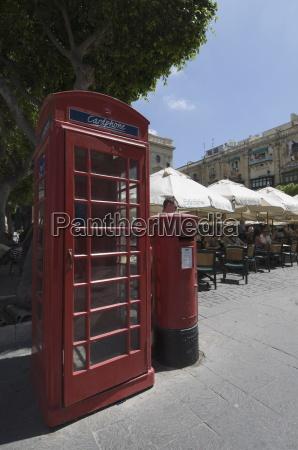 british telephone box and post box