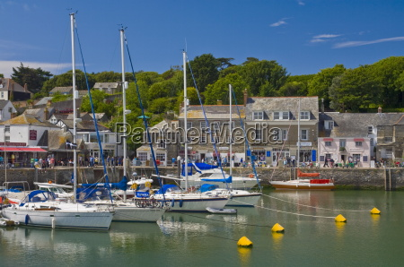 yachts at high tide in padstow