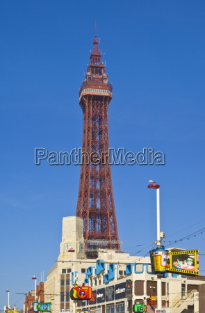 blackpool tower and illuminations during the
