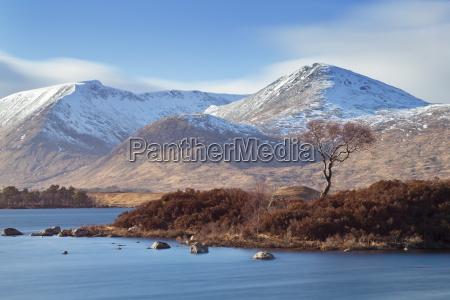 snow covered mountains around lochan na