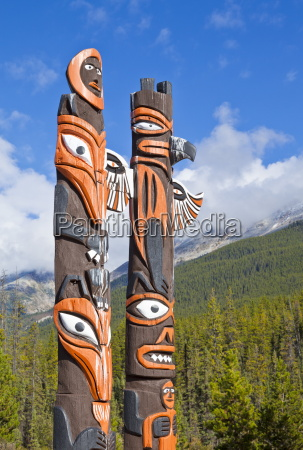 traditional canadian native totem poles at