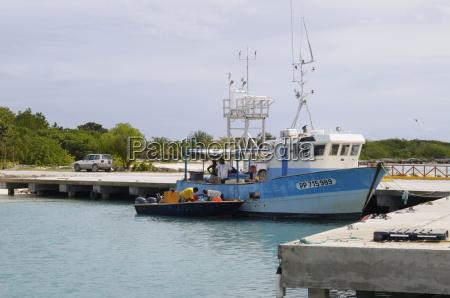 fishing boat in harbour in barbuda