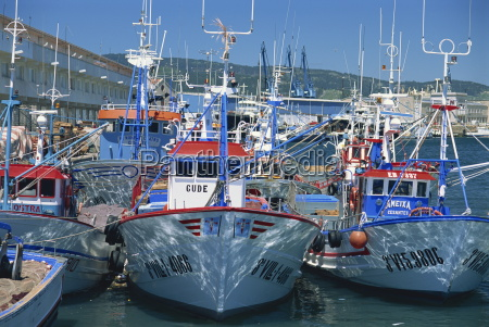 fishing boats in harbour at vigo