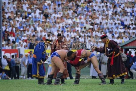 wrestling at the tournament naadam festival