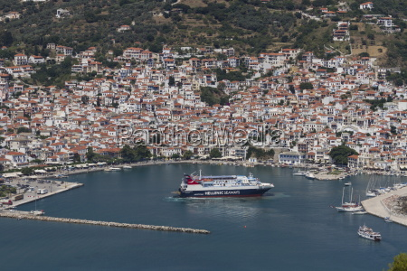 aerial view of ferry in harbour