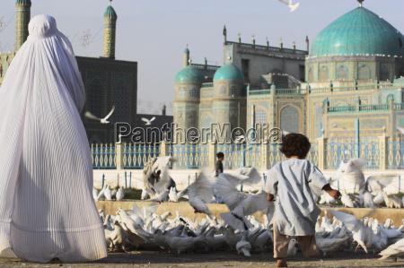 lady in burqa feeding famous white