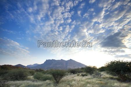 early morning view across barren landscape
