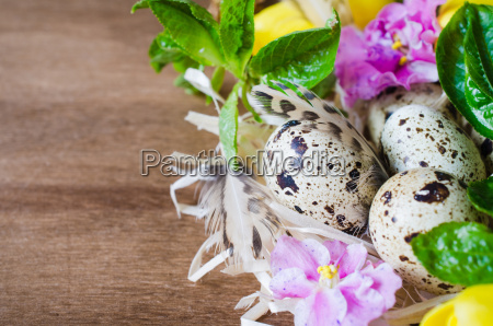 easter composition of eggs and spring