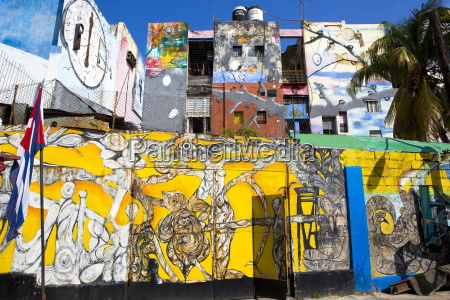 walls painted with afro caribbean art