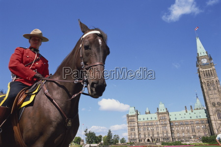 royal canadian mounted policeman outside the