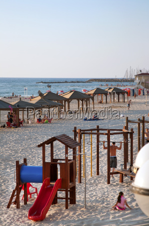 beach huts and leisure area at