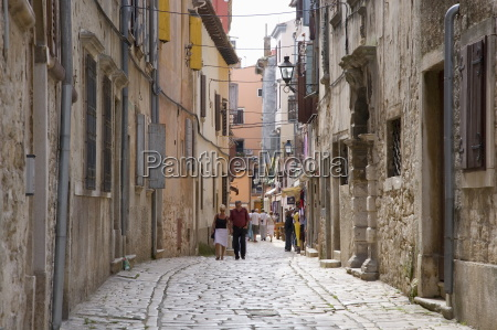 typical cobbled street in the old