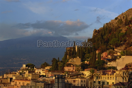 aerial view over town of taormina