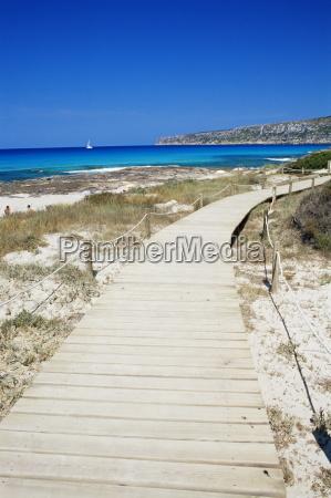 wooden gangway at playa de ses