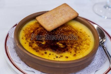 typical spanish sweet dessert catalan cream