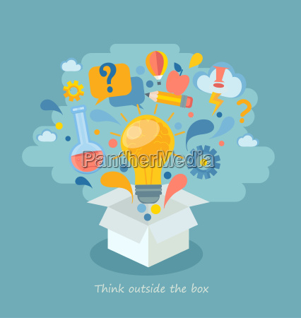 think outside the box vector illustration