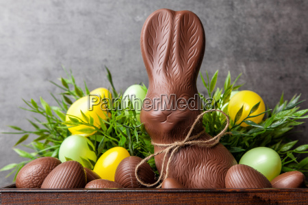 traditional easter chocolate bunny and eggs