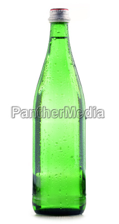 glass bottle of mineral water isolated