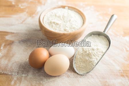 white flour and eggs
