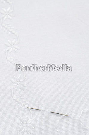 texture of linen fabric with white