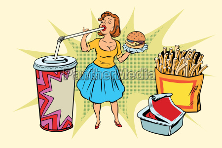 pop art woman and fast food