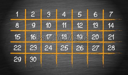 monatskalender mit 30 tagen
