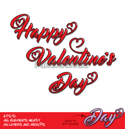 happy valentines day red lettering diagonal