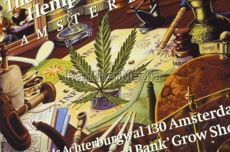 close up of cannabis shop sign